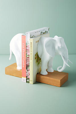 Slide View: 1: White Elephant Bookends