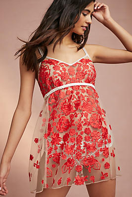 Slide View: 1: Rose Embroidered Chemise