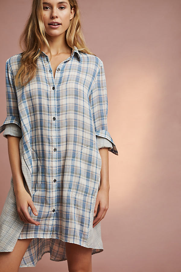 Two-Tone Plaid Sleep Shirt - Blue Motif, Size Xs