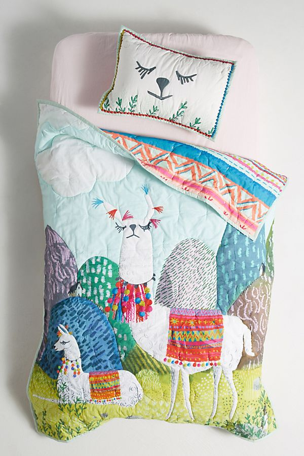 Slide View: 2: Jane Newland Little Llama Kids Quilt