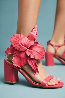 Cecelia New York   Cecelia New York Hibiscus Floral Heels  -    MEDIUM PINK