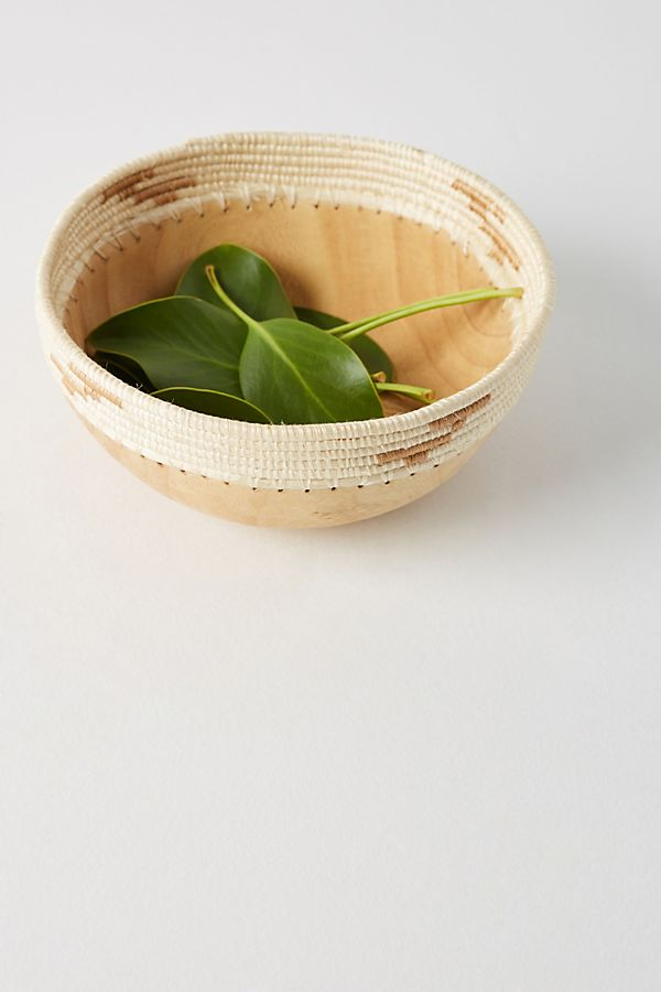 Slide View: 1: Sisal-Wrapped Decorative Bowl
