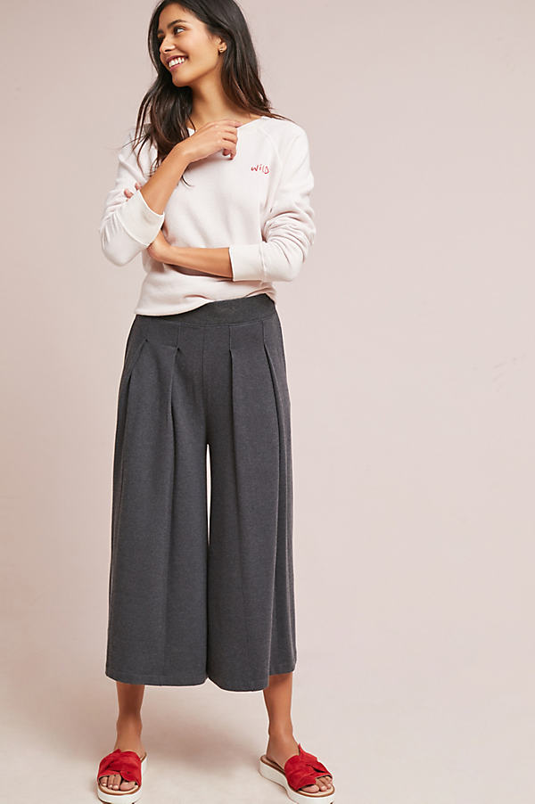 Mallory Wide-Leg Trousers - Dark Grey, Size S