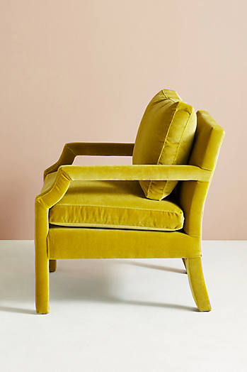Slide View: 4: Chaise en velours Delaney