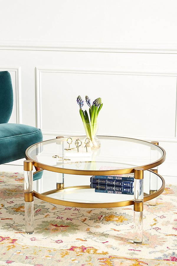 Slide View: 1: Oscarine Lucite Mirrored Round Coffee Table