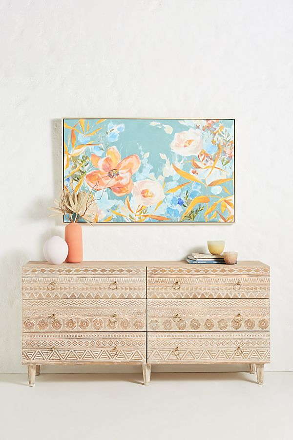 Slide View: 1: Handcarved Delhi Six-Drawer Dresser