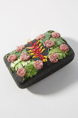 Serpui Marie   Heliconia Flower Clutch  -    BLACK