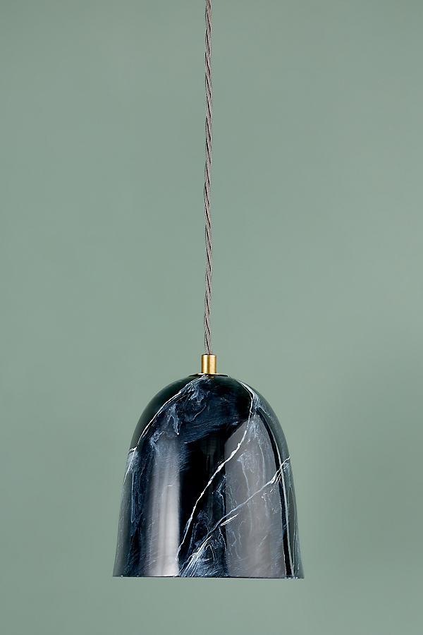 Grey Marble Pendant - Black, Size S