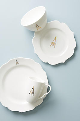 Slide View: 1: Scripted Monogram Dinner Plate
