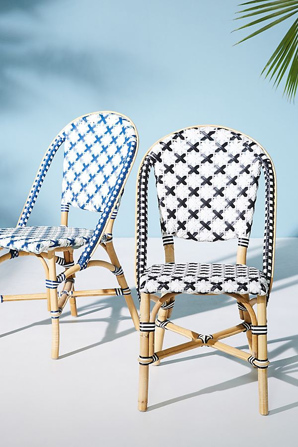 Slide View: 6: Woven Bistro Indoor/Outdoor Dining Chair