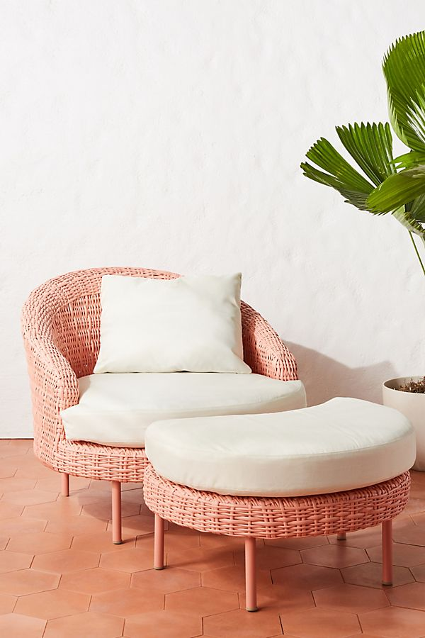 Slide View: 1: Lilith Indoor/Outdoor Chair & Ottoman