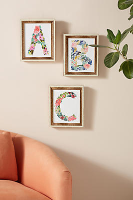 Slide View: 1: Floral Monogram Wall Art