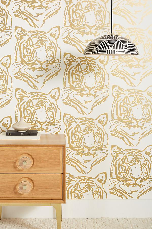 Aimee Wilder Star Tiger Wallpaper In Gold