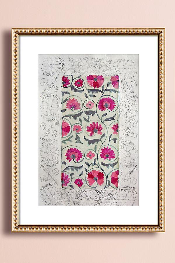 Suzani Pink Wall Art - Gold, Size M