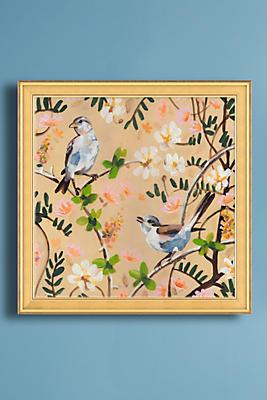Slide view 1 two birds in a tree wall art