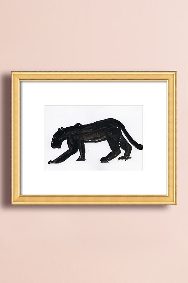 Panther Walking Wall Art - Beige, Size S