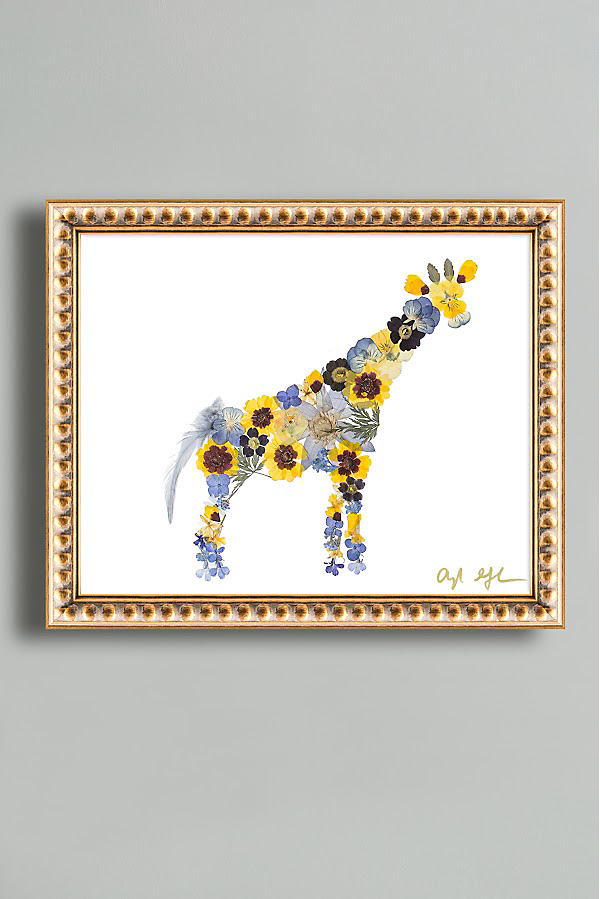 Pressed Flower Giraffe Wall Art - Gold