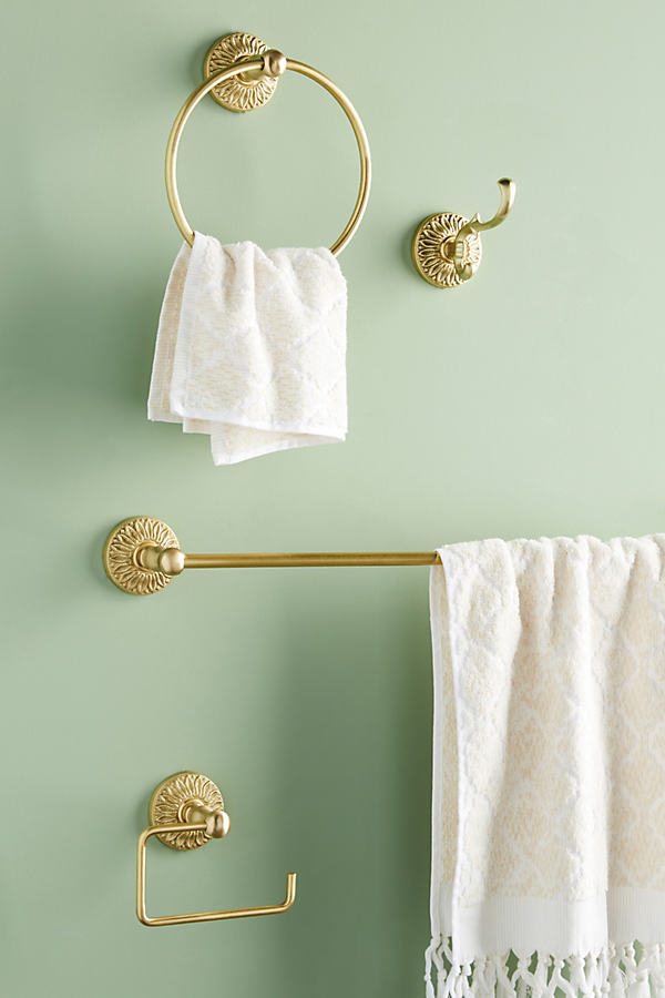Floral Antique Bath Hardware Collection - Yellow