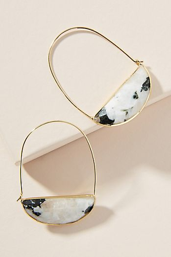 Large Stone Crescent Hoop Earrings