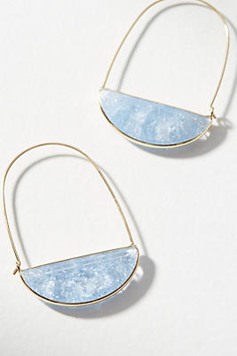 Anthropologie Stone Crescent Hoop Earrings kZZrQCdEYF