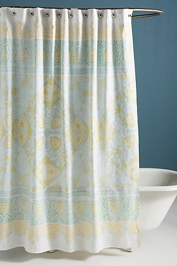 teal and yellow shower curtain. Josee Shower Curtain Unique  Modern Boho Curtains Anthropologie