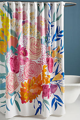 Slide View: 1: Paint + Petals Shower Curtain