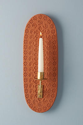 Slide View: 1: Pressed Terracotta Candle Sconce