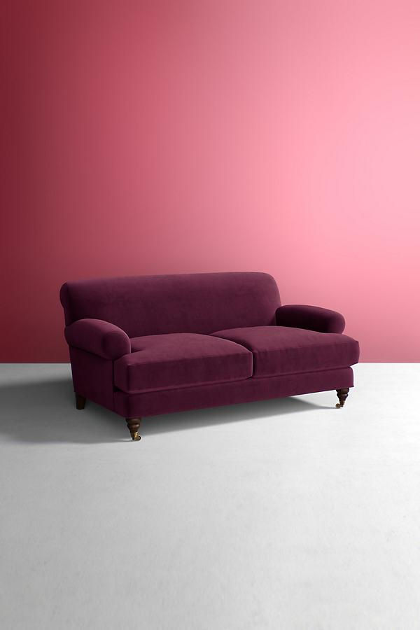 Velvet Willoughby Sofa, Wilcox Legs - Purple