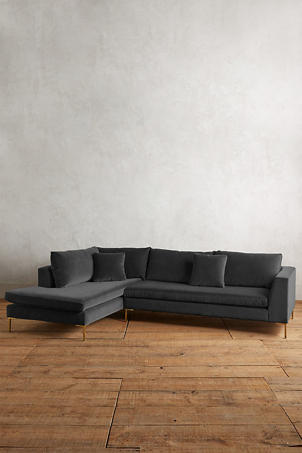 Velvet Edlyn Left Corner Sofa - Grey
