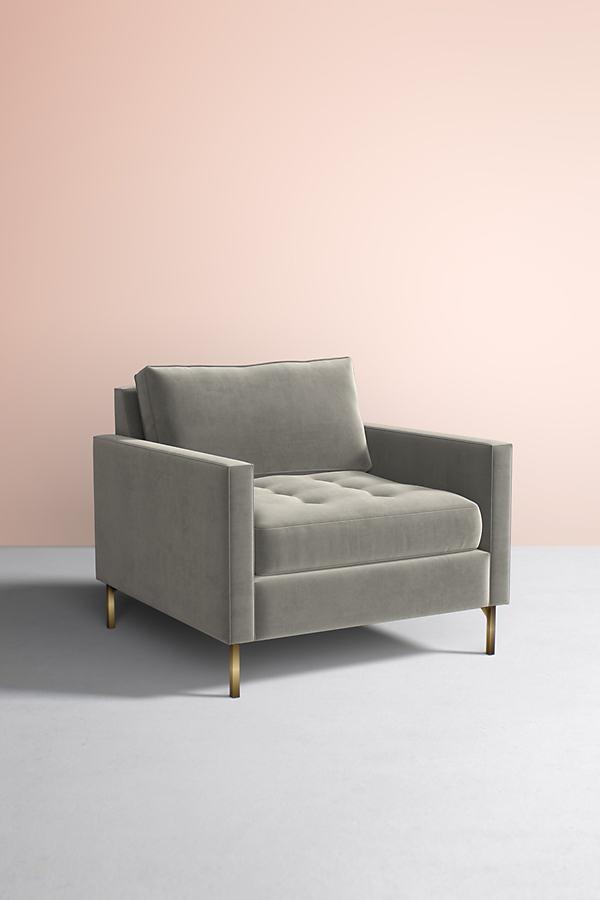 Angelina Velvet Chair - Grey