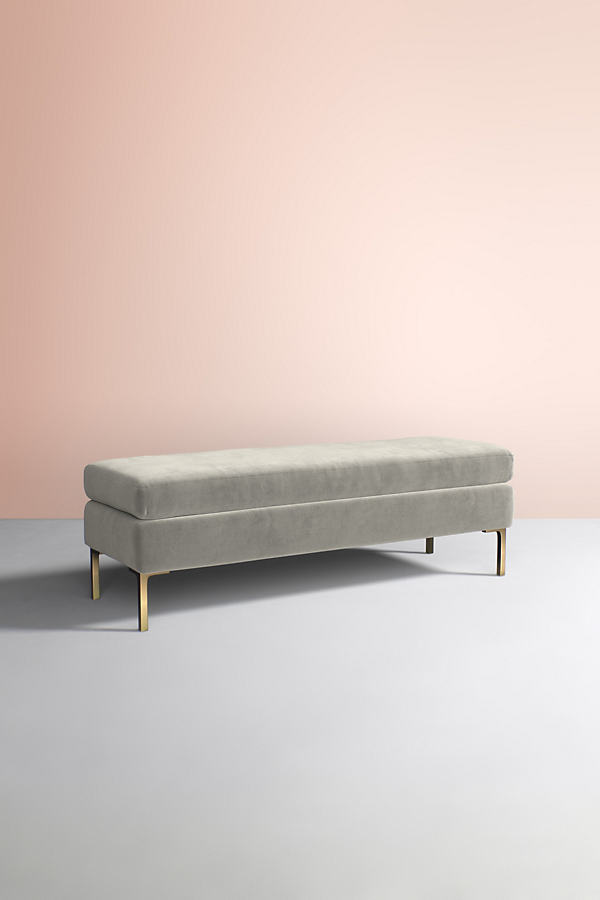 Edlyn Velvet Bench - Grey