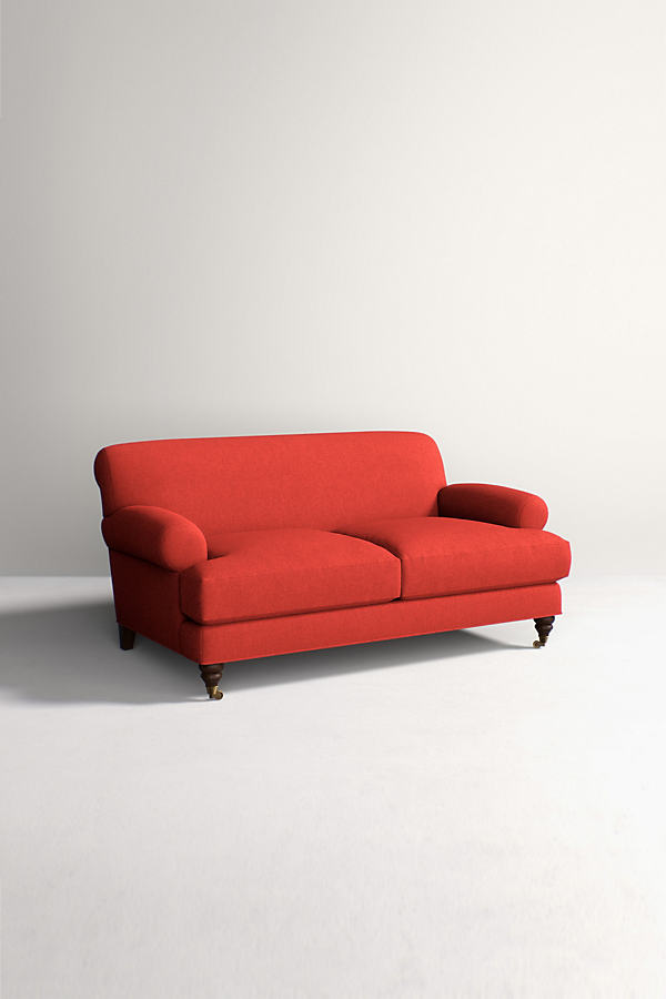 Willoughby Sofa, Performance Wool with Hickory Leg - Orange