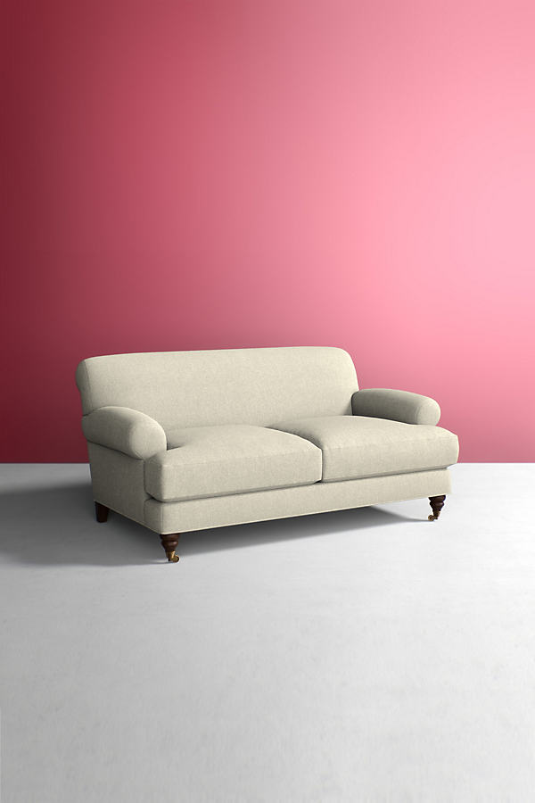 Willoughby Sofa, Wool with Hickory Leg - White