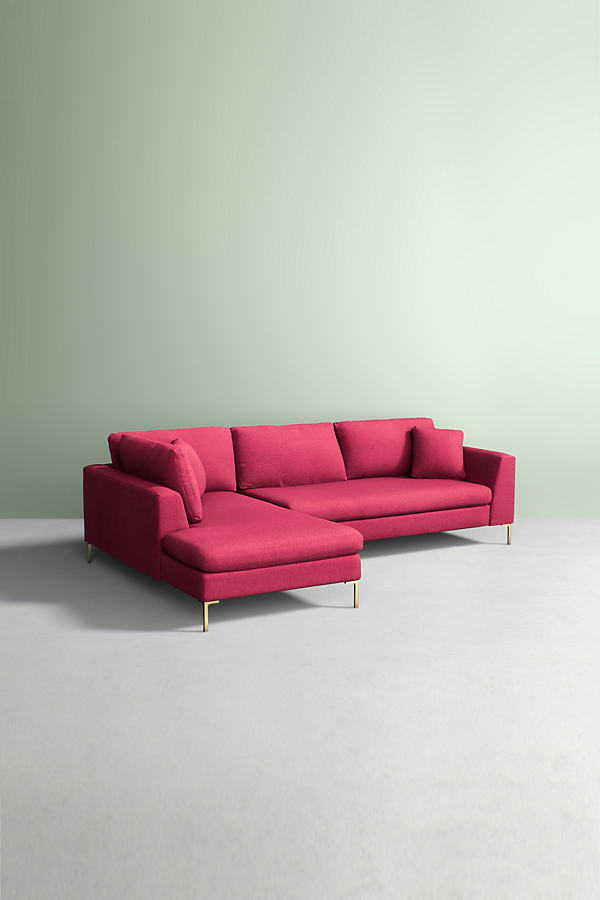 Edlyn Left Corner Sofa, Performance Wool - Pink