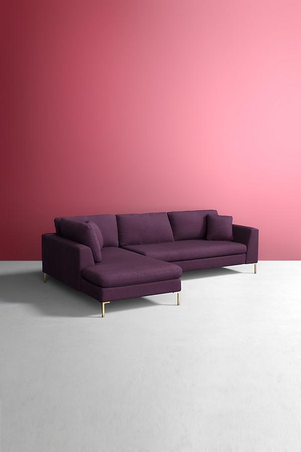Edlyn Left Corner Sofa, Wool - Purple