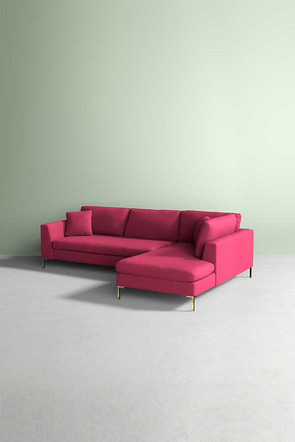 Edlyn Right Corner Sofa, Performance Wool - Pink