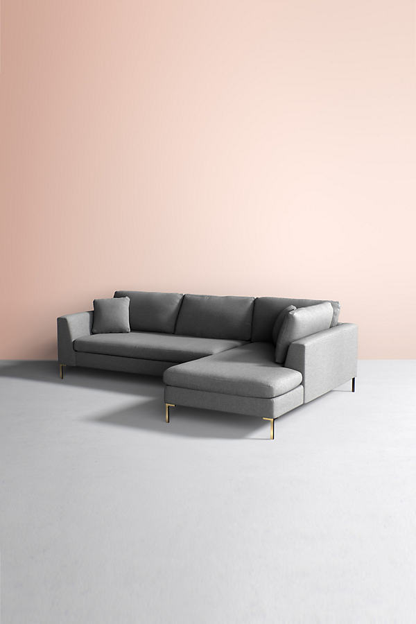 Edlyn Right Corner Sofa, Wool - Grey