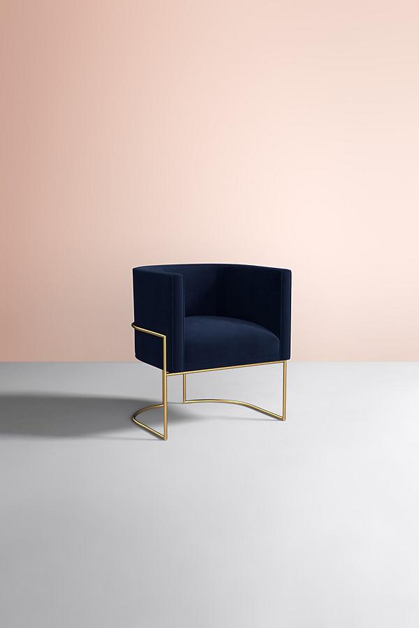 Caddell Velvet Chair - Blue