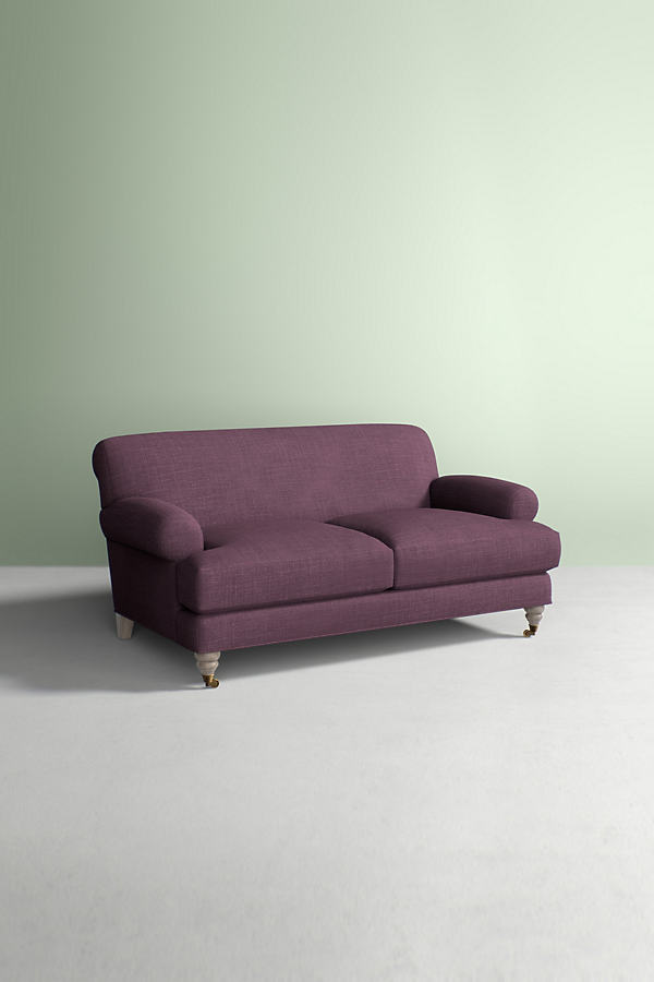Willoughby Sofa, Performance Linen with Wilcox Leg - Purple