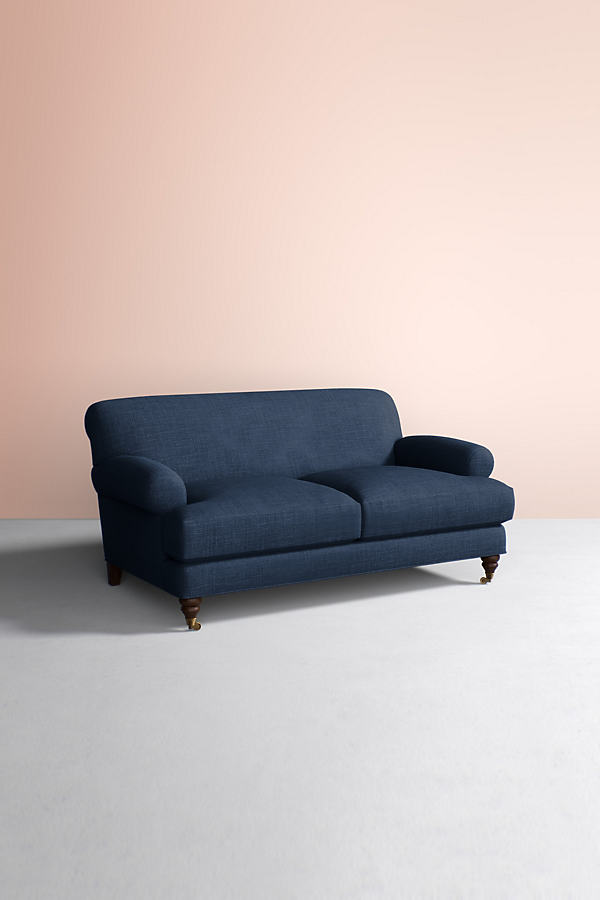 Willoughby Sofa, Performance Linen with Hickory Leg - Blue