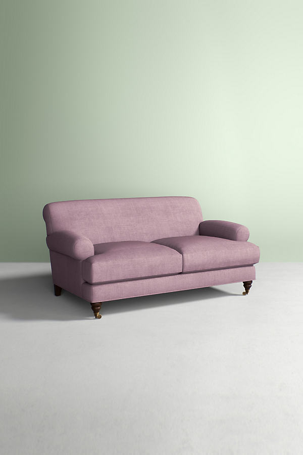 Willoughby Sofa, Performance Linen with Hickory Leg - Purple