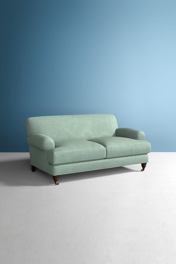 Willoughby Sofa, Performance Linen with Hickory Leg - Mint