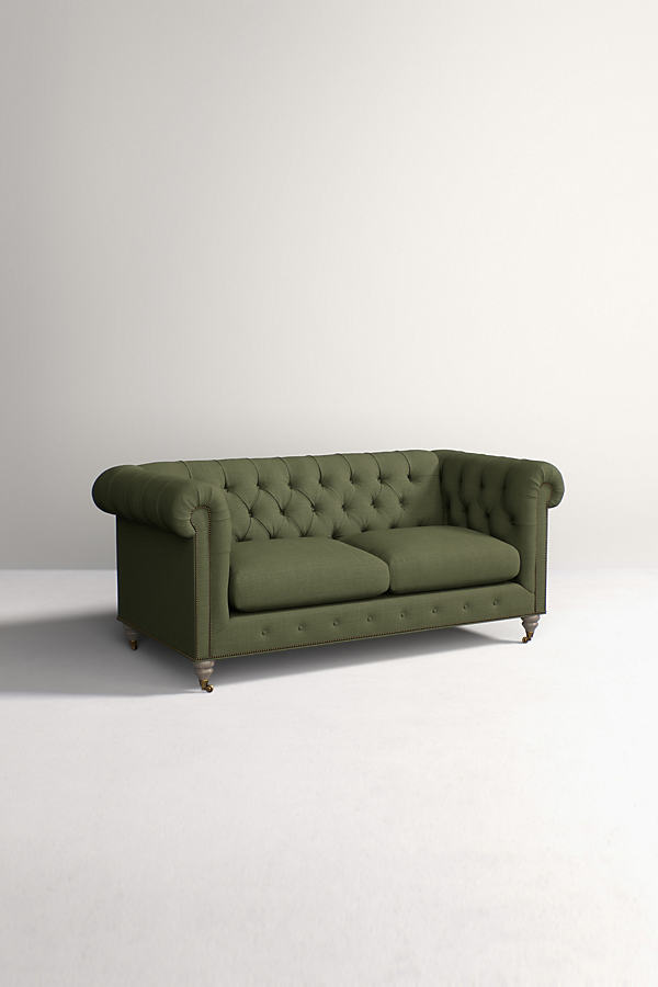 Chesterfield Sofa, Performance Linen with Wilcox Leg - Green