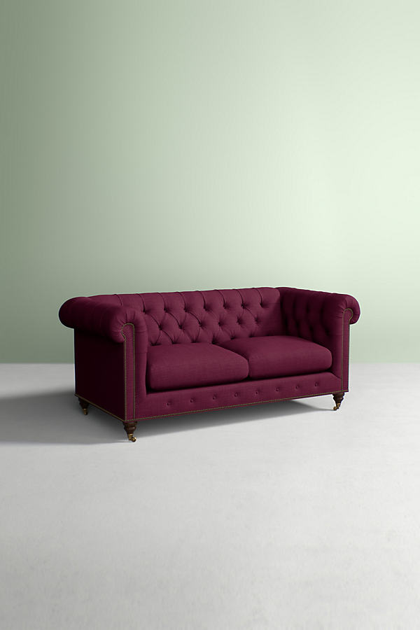 Chesterfield Sofa, Performance Linen with Hickory Leg - Purple
