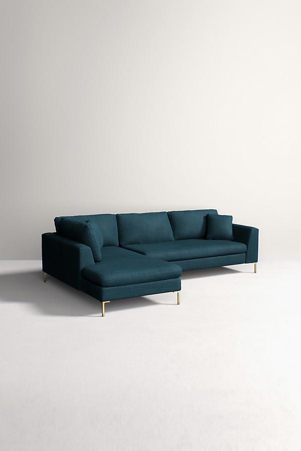 Edlyn Left Corner Sofa, Performance Linen - Blue