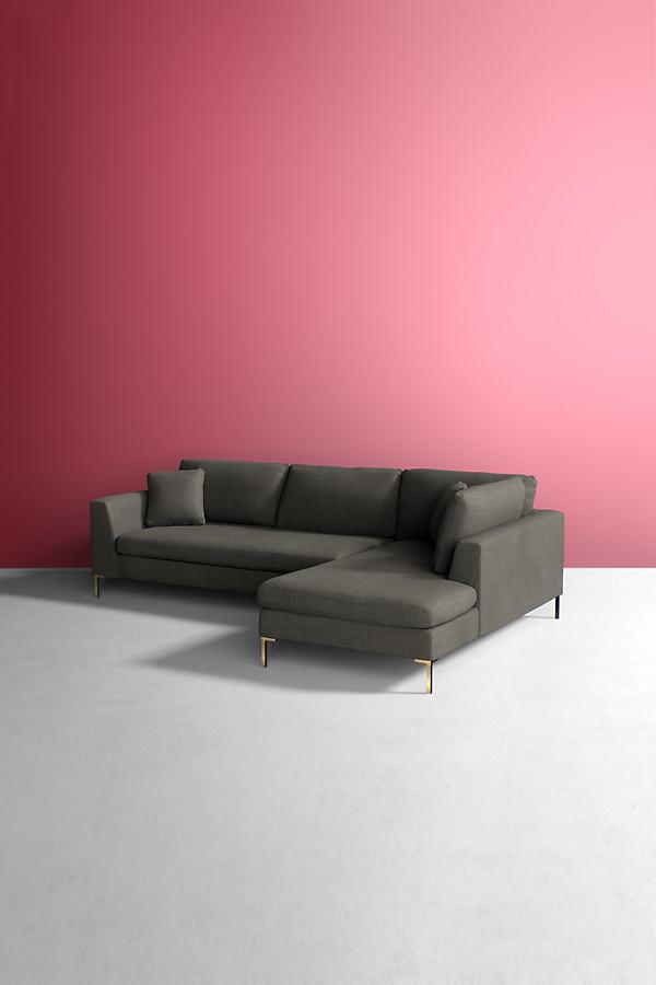 Edlyn Right Corner Sofa, Performance Linen - Grey