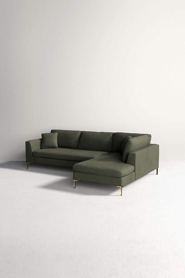 Edlyn Right Corner Sofa, Performance Linen - Green