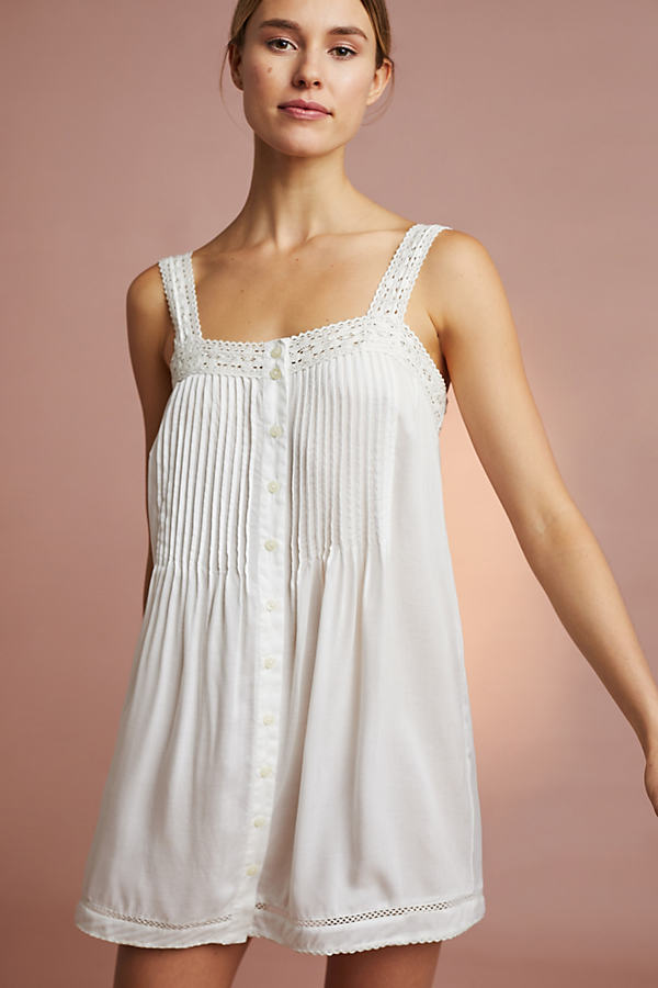 Floreat Pintuck Slip - White, Size Xl