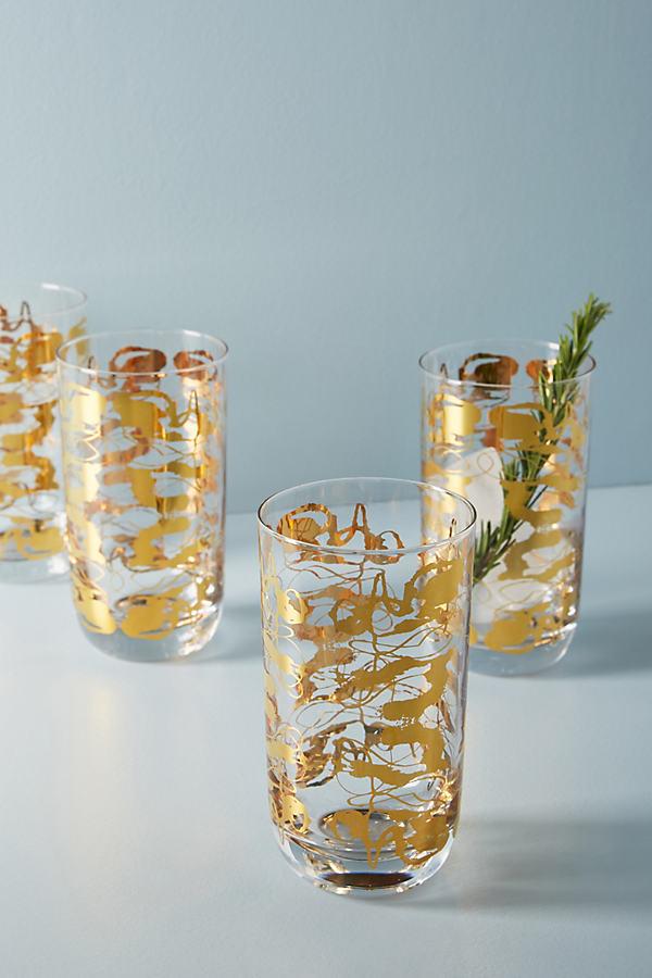Dorota Highball Glass - Gold, Size Tumbler