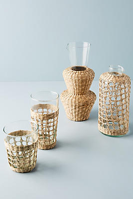 Slide View: 2: Seagrass-Wrapped Tumblers, Set of 4